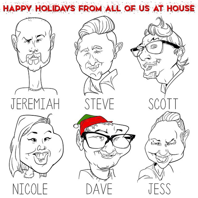 Happy Holidays from all of us at HOUSE! Had caricatures of made of the staff. It's very funny…… Haha enjoy!     #caricatures #funny #cartoon #drawing #holiday #housestudios #staff #festive #elf #art #fun     HOUSEtribeca.com photo retouching house (at House Studios LLC)