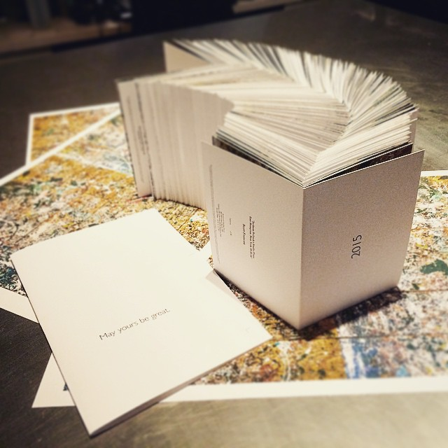 """Fresh off the printers and hand cut to send out in the new year. Scott Frances' edition art cards. """"Jackson Pollack's Studio Floor""""    #art #photography #jacksonpollack #studio #modern #card #holiday #housestudios #handcut #handmade #2015 #newyears #printing #custom #edition #architecture #exclusive @scottfrancesphoto   HOUSEtribeca.com  photo-retouching house"""