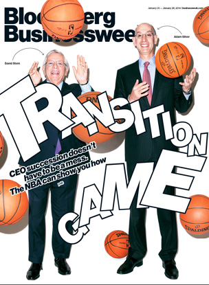 Photographer  Jason Nocito ( tumblr ) does the Cover for  Bloomberg Businessweek Magazine .   David Stern Passes the NBA to Adam Silver.