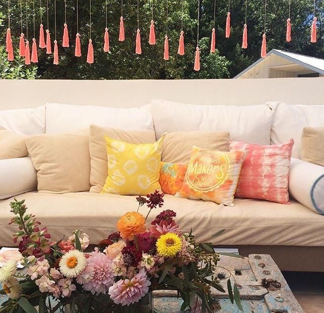 Tassel Backdrop & Custom PIllows
