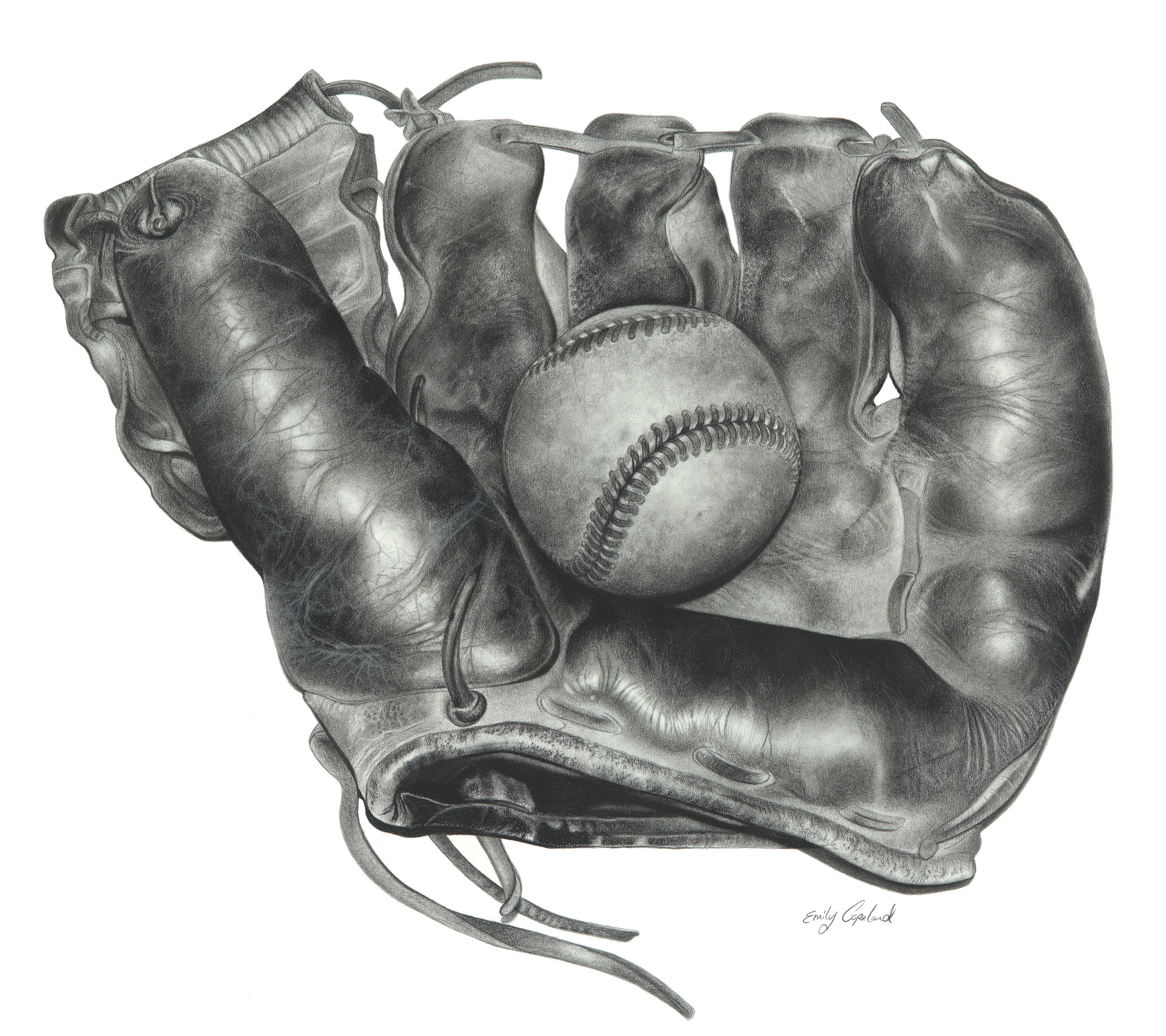 Charcoal Drawing of a Vintage Baseball Glove