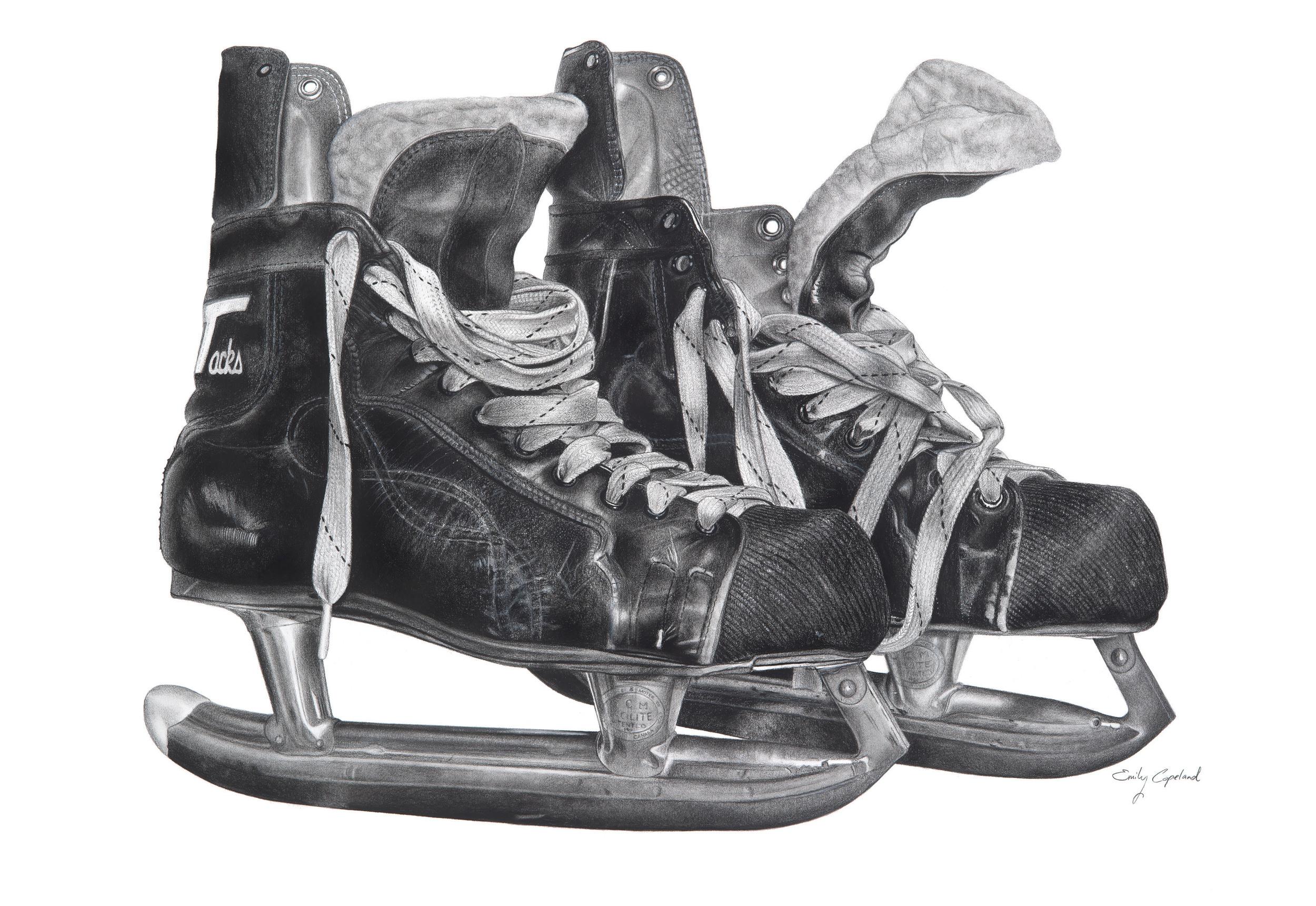 Charcoal Drawing of Vintage Hockey Skates