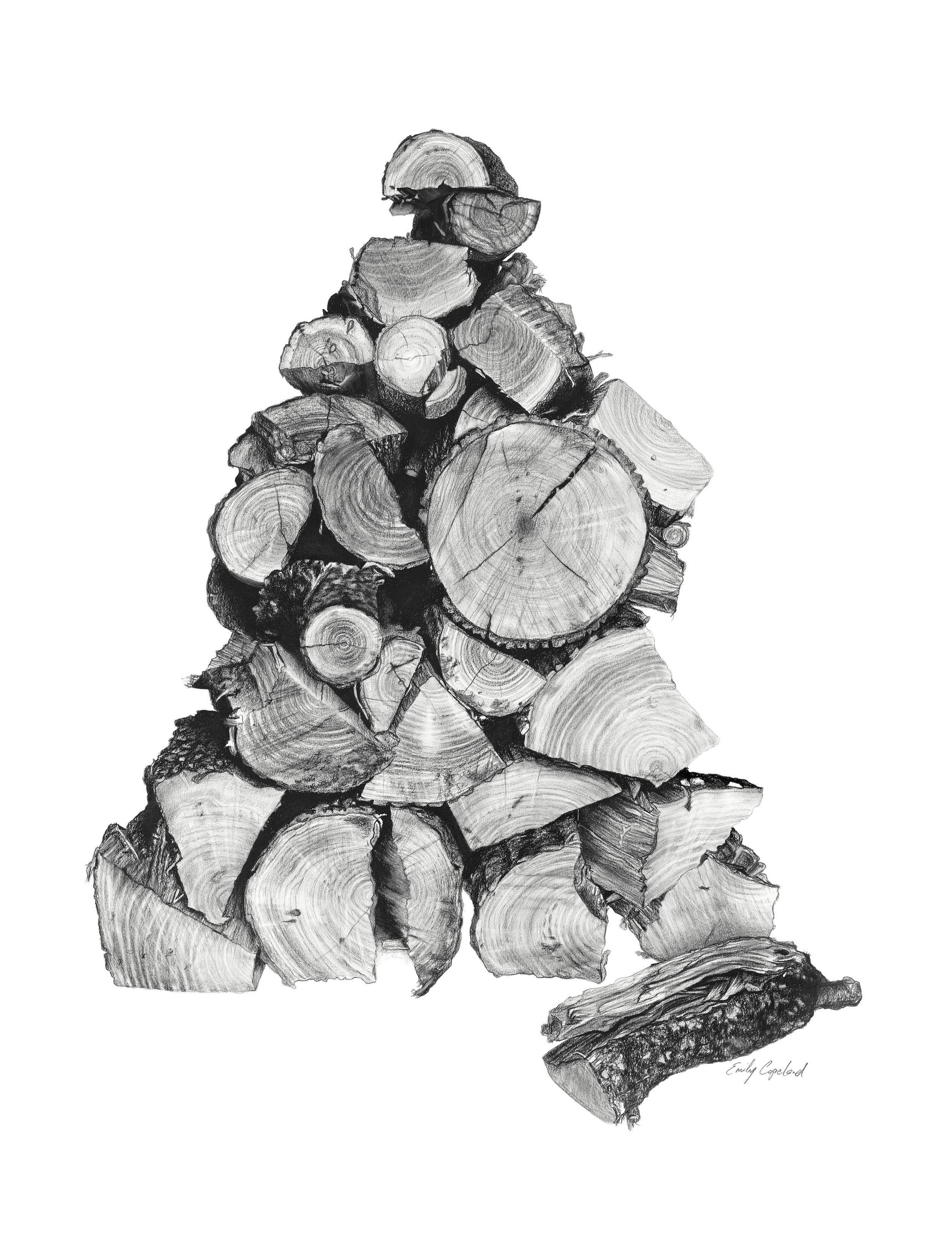 Charcoal Drawing of a Stack of Wood