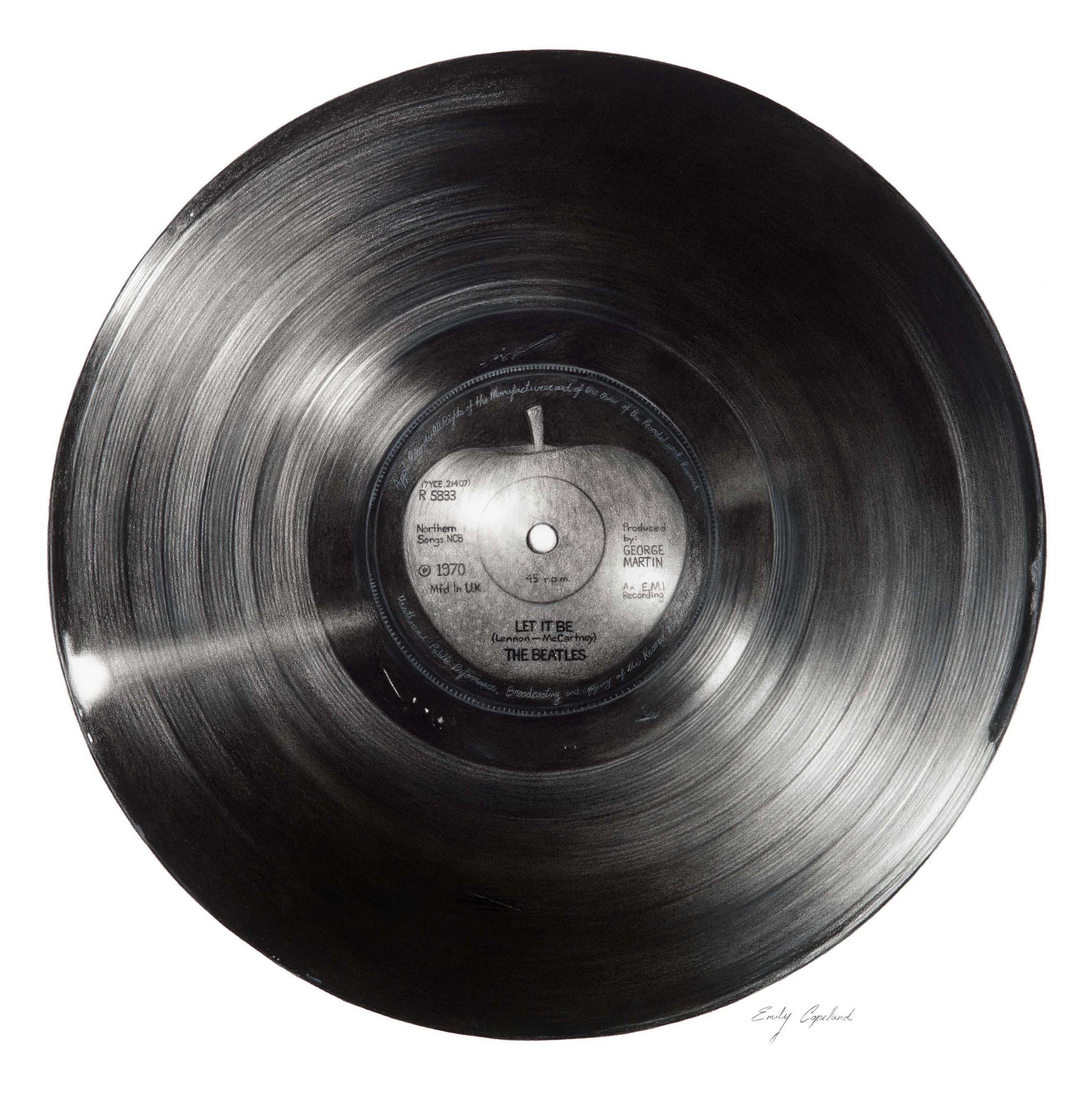 Charcoal Drawing of a Beatles Vinyl