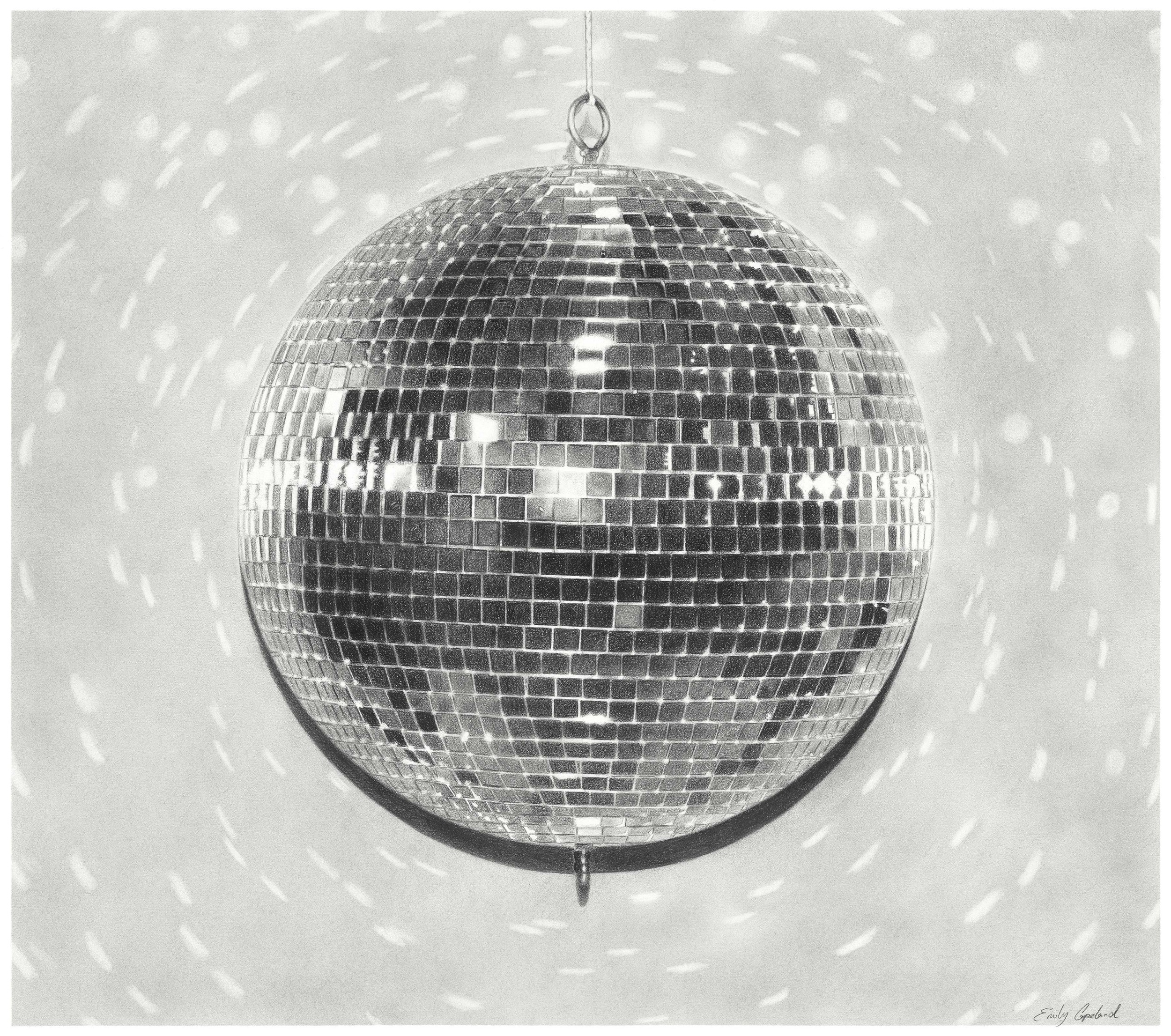 Charcoal Drawing of a Disco Ball