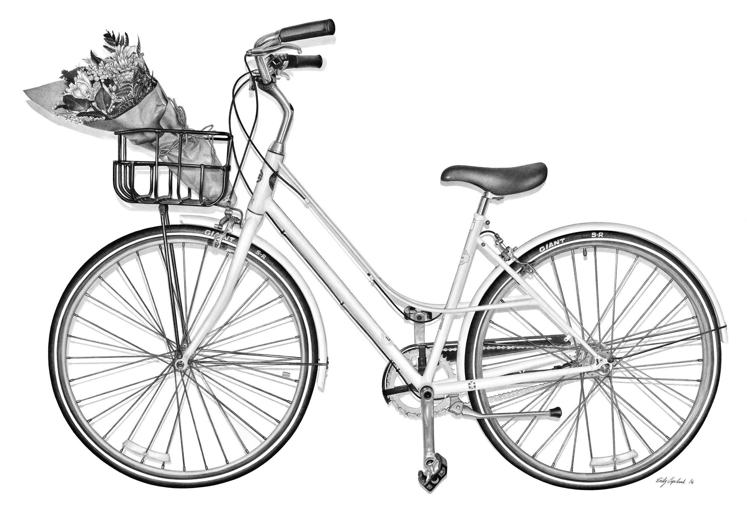 Charcoal Drawing of a Vintage Styled Bike