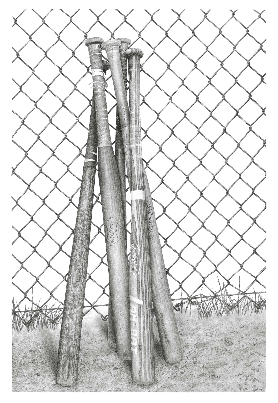 Charcoal Drawing of Vintage Baseball Bats