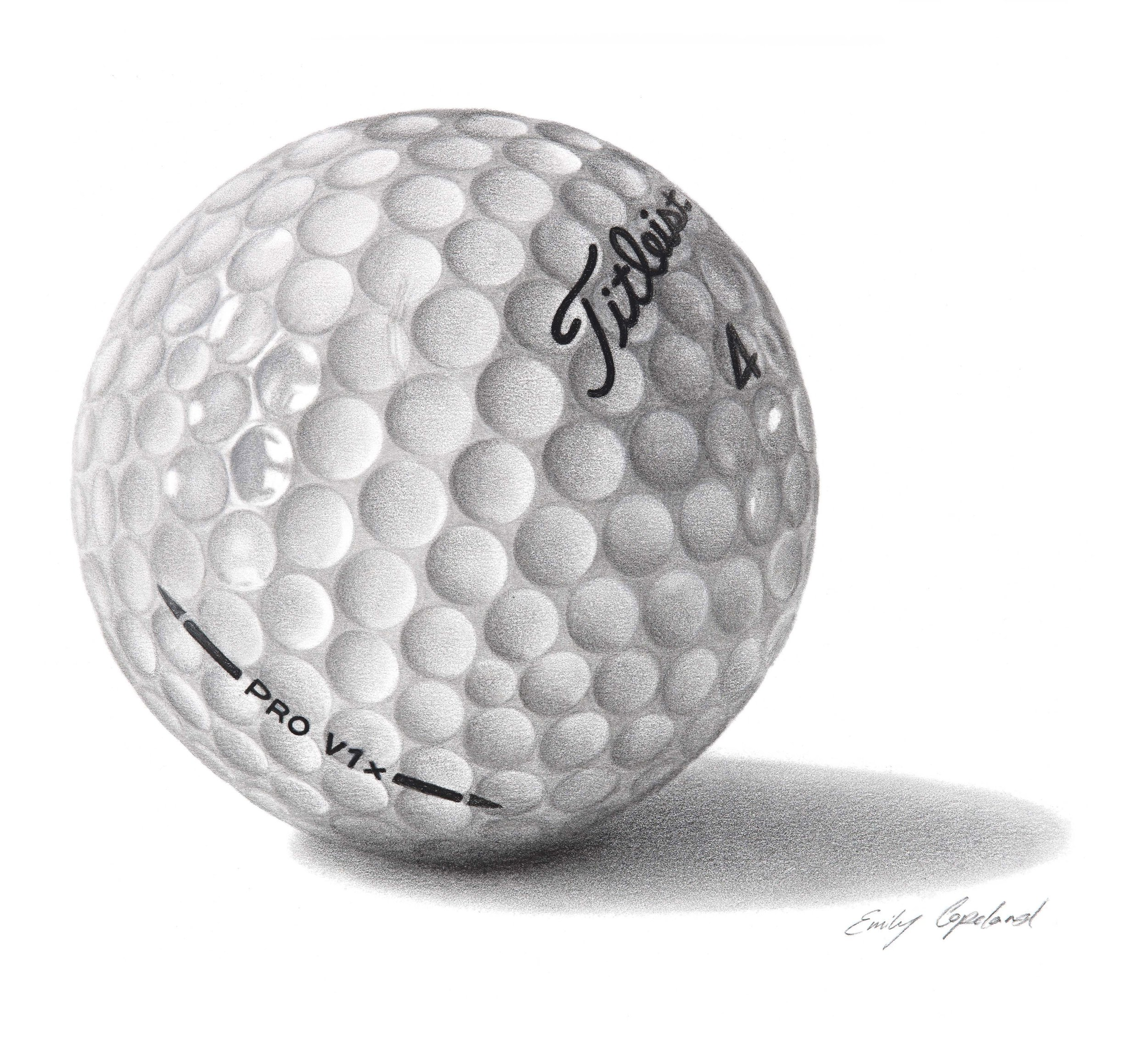 Charcoal Drawing of a Golf Ball