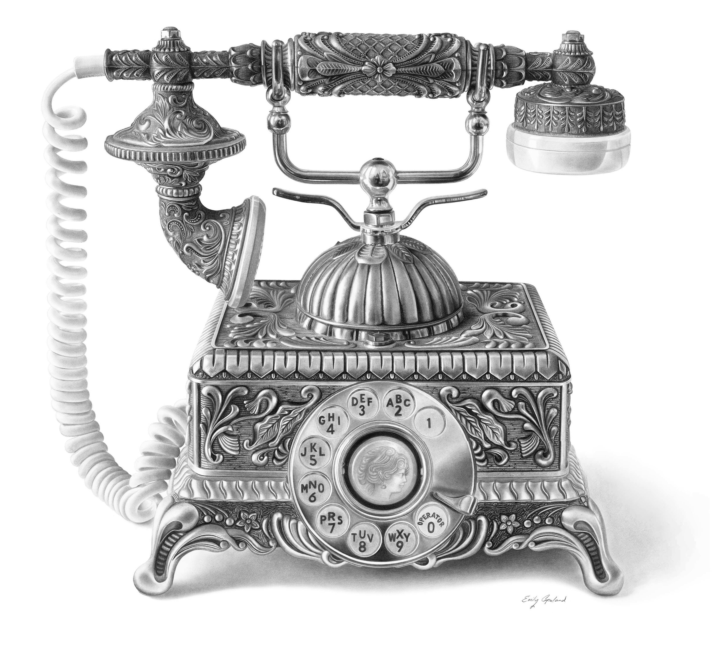 Charcoal Drawing of an Antique Phone