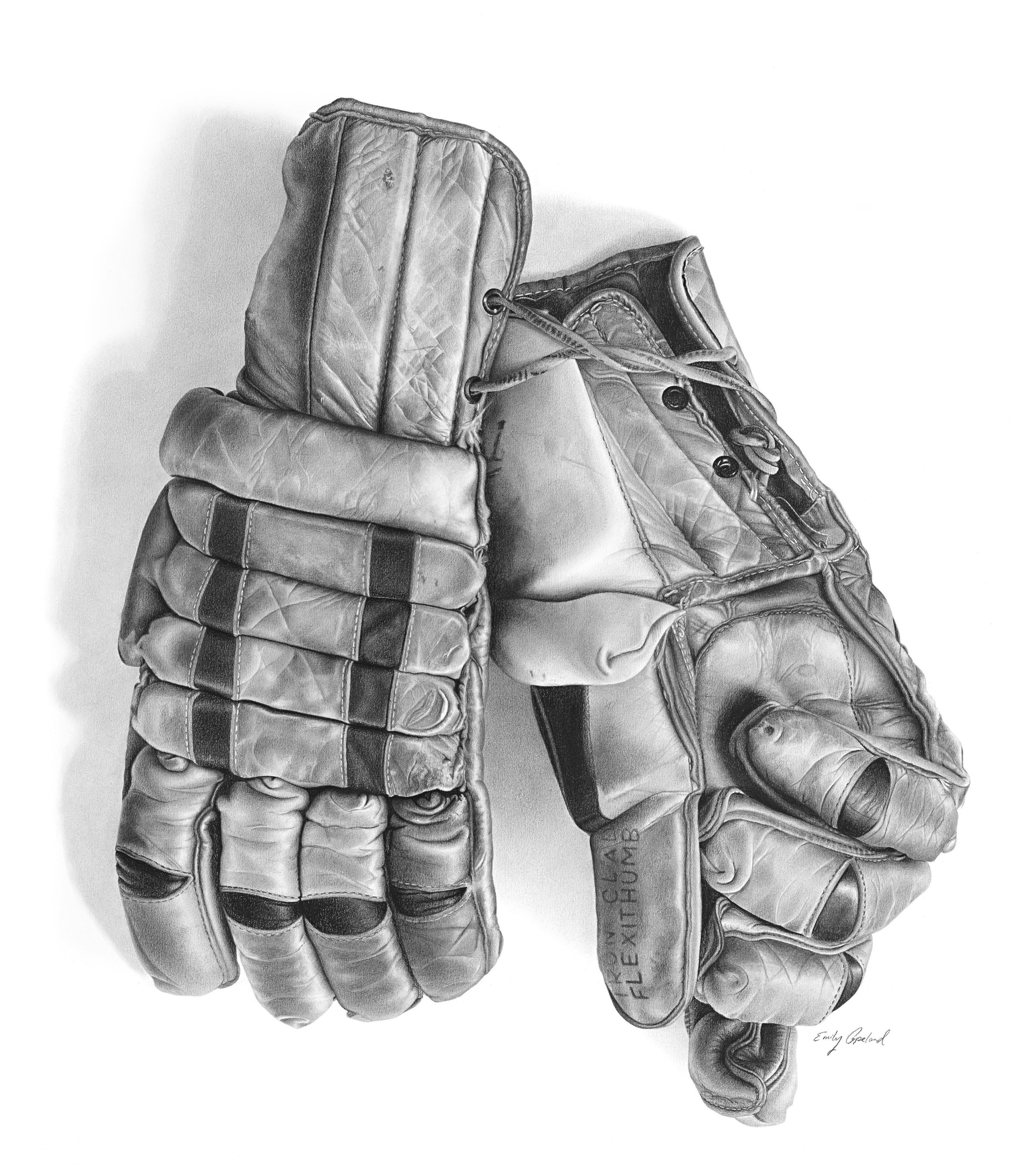 Charcoal Drawing of Antique Hockey Gloves