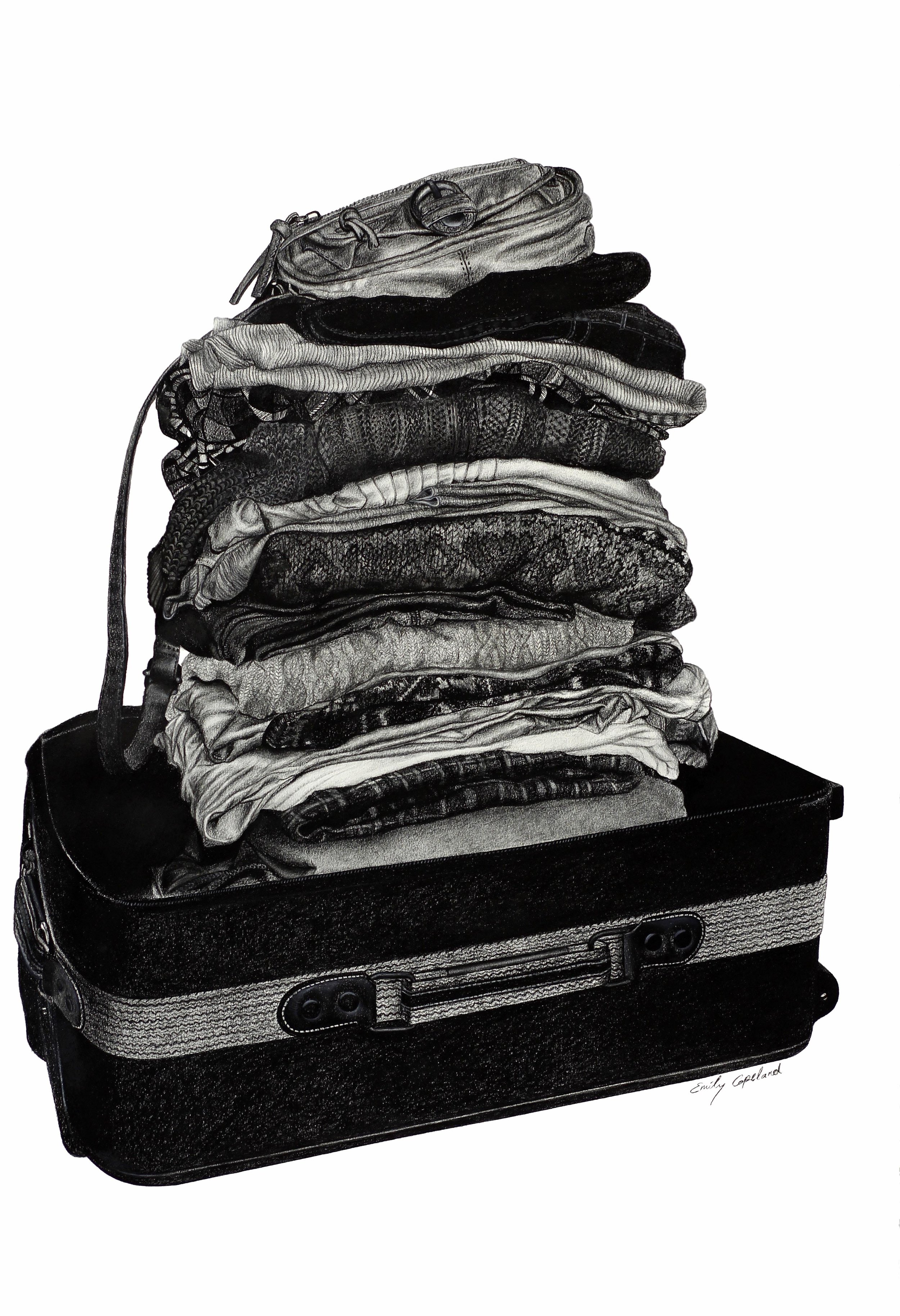Charcoal Drawing of a Stack of Clothes