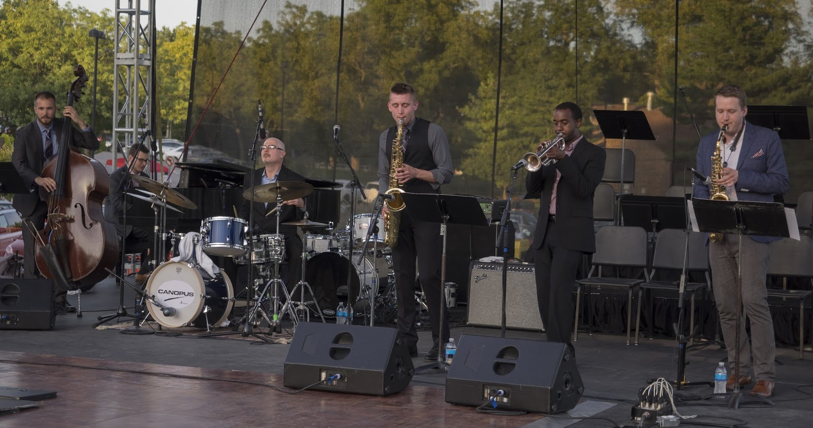On stage with Kansas City Generations Sextet at the Prairie Village Jazz Festival (Photo Credit: Larry Kopitnik)