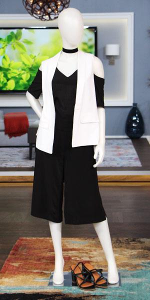 Shop Look 1:  Off the shoulder blouse | long vest | Wilfred culotte | H&M block heel | H&M velvet choker