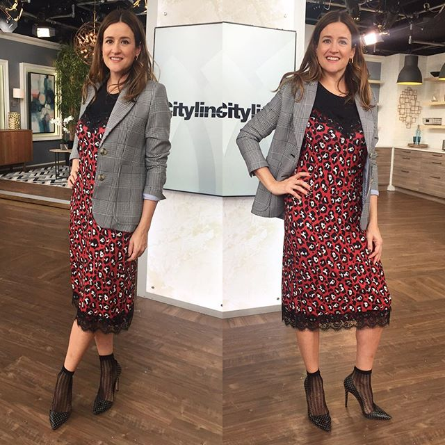 Posting today's @cityline outfit (airs next Wednesday) because this fabulous midi-slip dress because it's $15!😍🤪🤗👀 from @zara! Mix prints. Layer underneath AND over top. Seasonless and most important, fun! Happy shopping!!!!! And tune in next Wednesday to see my round up of training bras for your tween.  #torontostylist #ootd #myoutfit #winterlayers #citylineexpert #socksandpumps #slipdress #animalprints #mixingprints