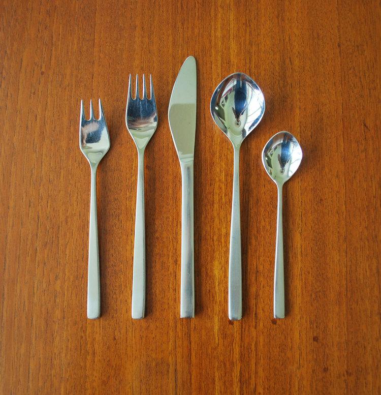 Denmark 1958 HTF Midcentury Tias Eckhoff Fuga Coffee  Five O/'Clock Spoons Lundtofte Set 3