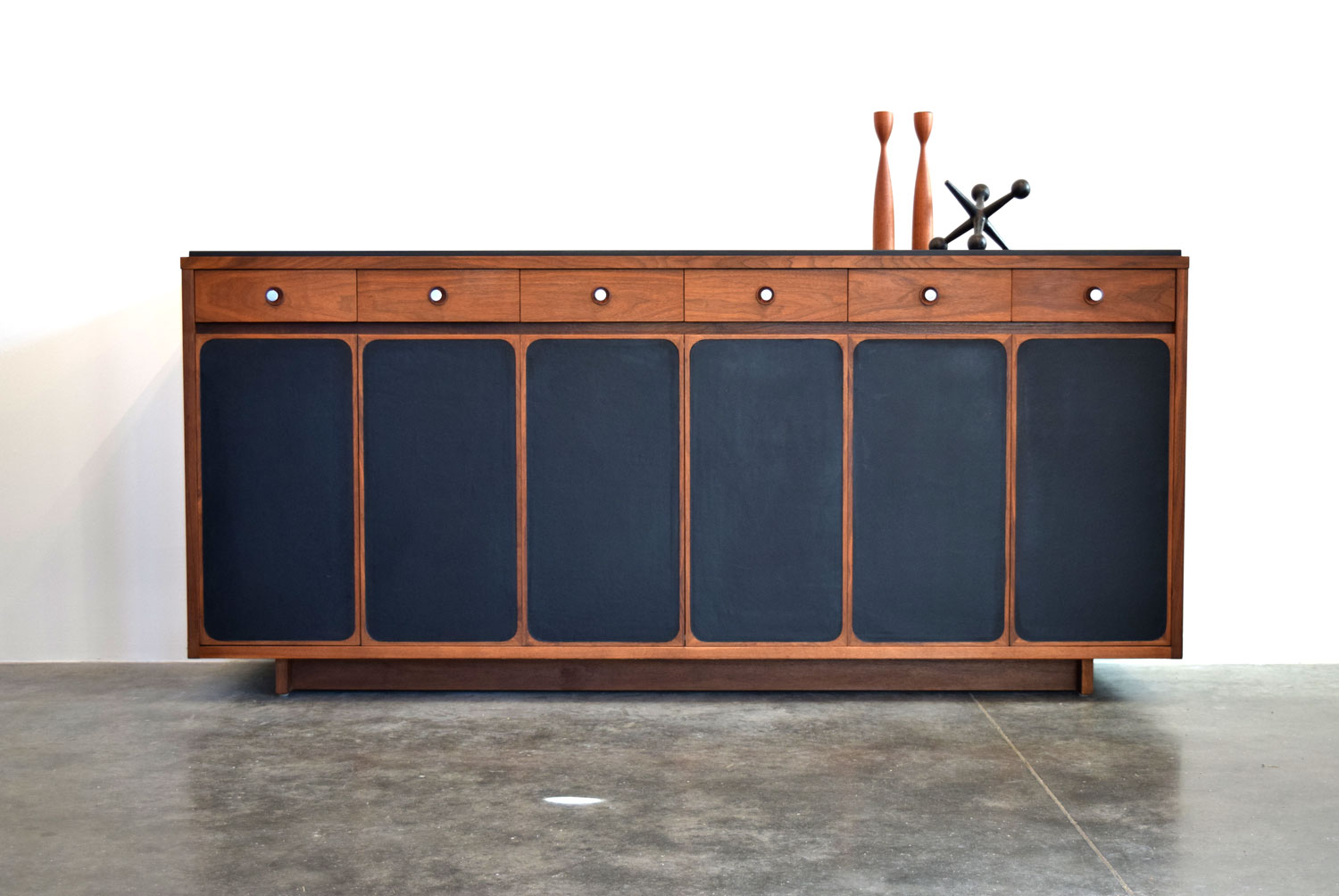 Rare Walnut, Slate & Leather Dresser, H. Sacks & Sons
