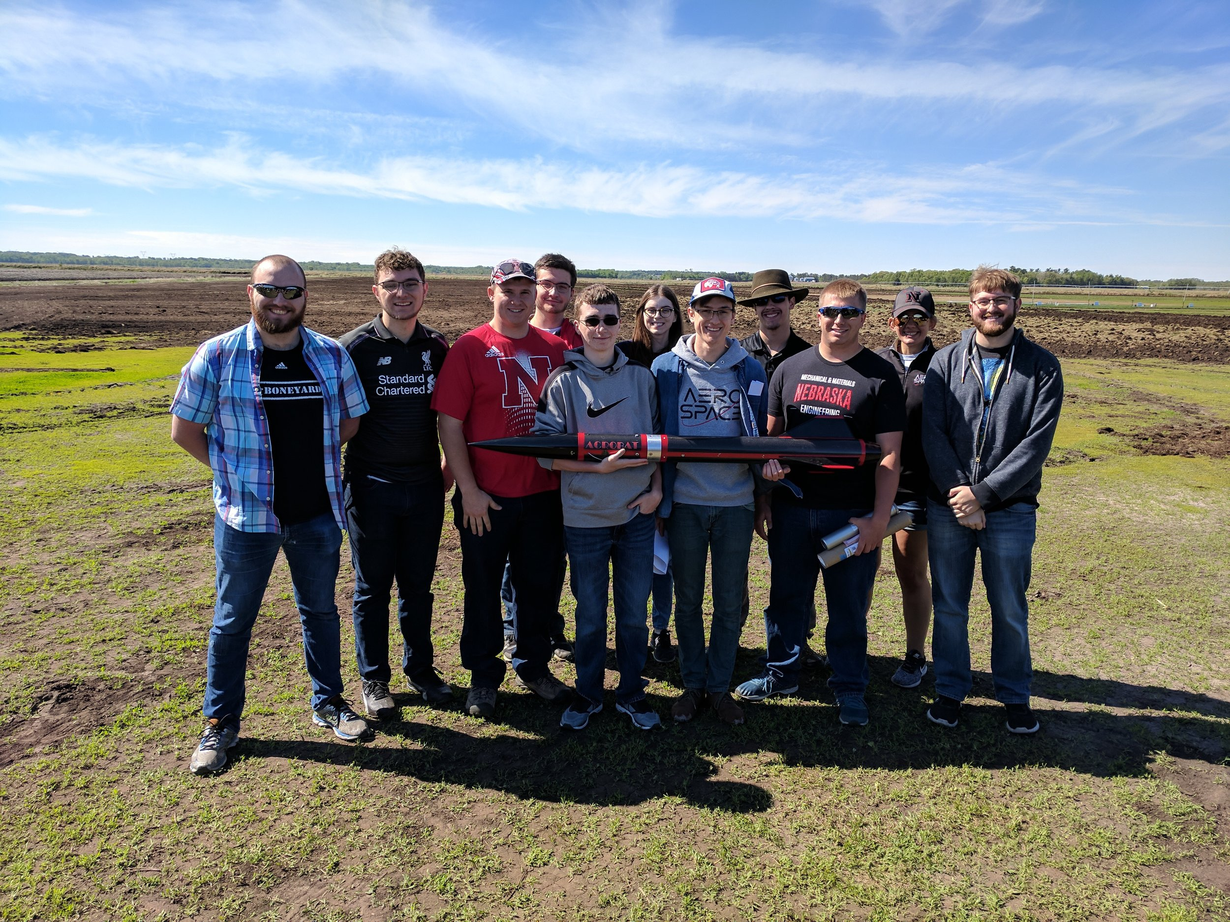 Above are the members of the 2017-18 UNL Husker Rocketry team.