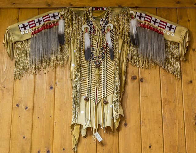 Sioux Warshirt by Chuck Winterheart  Photo by the talented and delightful #juanlozaphotography #greywolfgallery #indigenousart