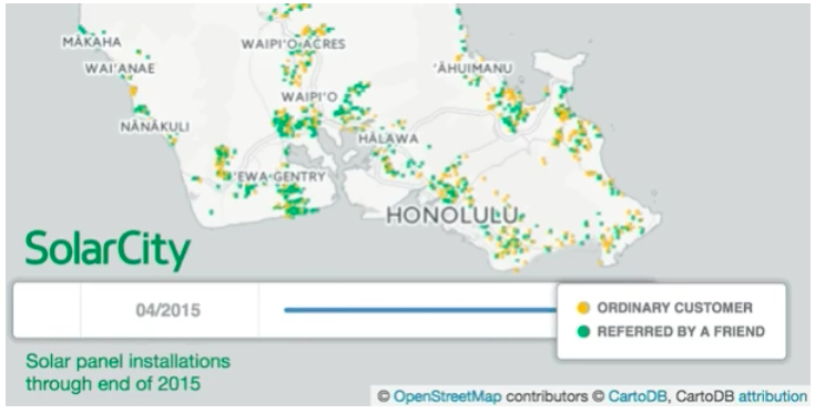 The green dots show the spread of solar panels due to referrals https://www.vox.com/2016/5/4/11590396/solar-power-contagious-maps