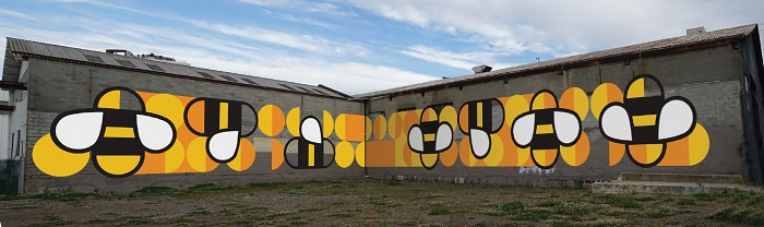 """5th and Pine """"Pop up Bee park"""" Mural, Vancouver, BC"""