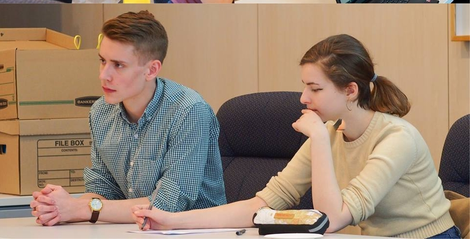 Here I am on the left alongside The Green Medium's Editor-in-Chief, Elizabeth Gierl discussing environmental politics at a City of Edmonton Youth Council meeting.