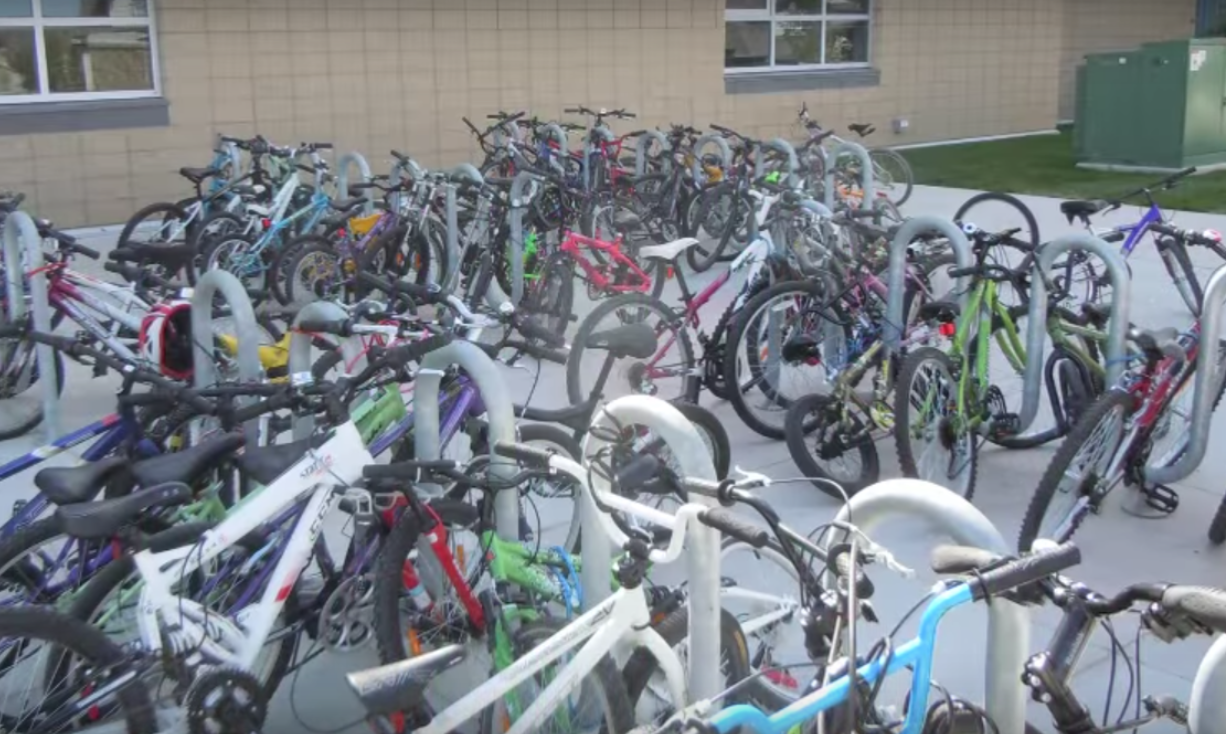 The bike racks at Captain Nichola Goddard School are almost always full now, thanks to the school's Green Commuting Challenge.