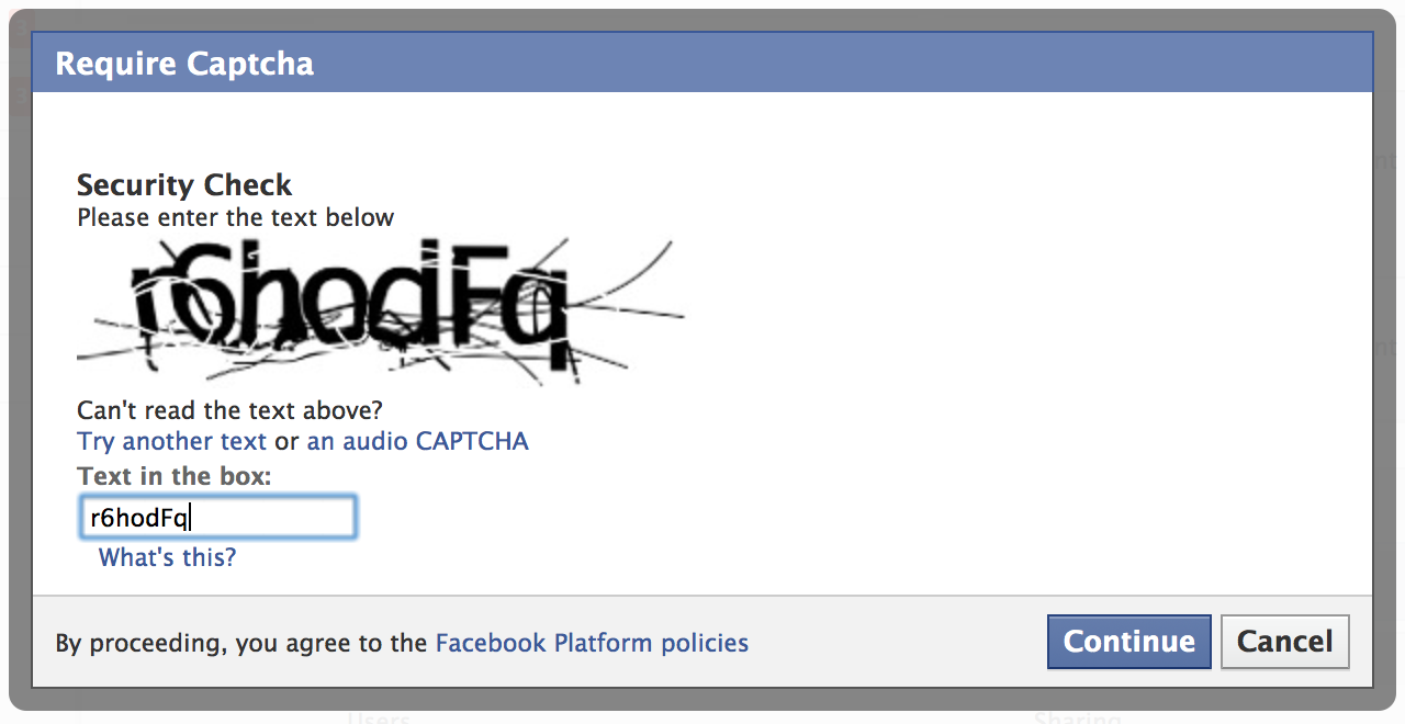 Facebook captcha test to see if the user is a robot or not  Source:  BeSpecular