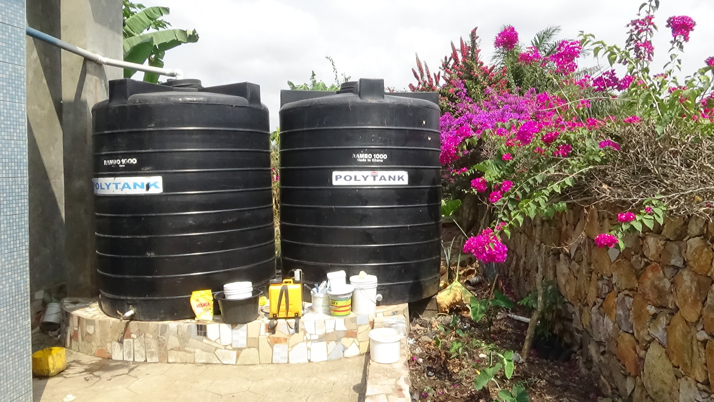 Poly Tanks for water storage.