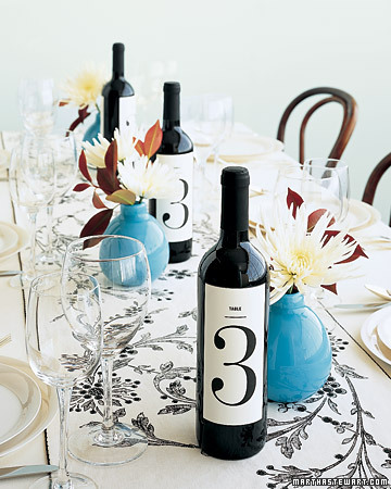 wine bottle centerpieces and table numbers