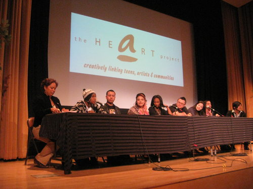 artworx LA students sharing what they learned from their 11-week workshop in the Autry's Wells Fargo Theater.