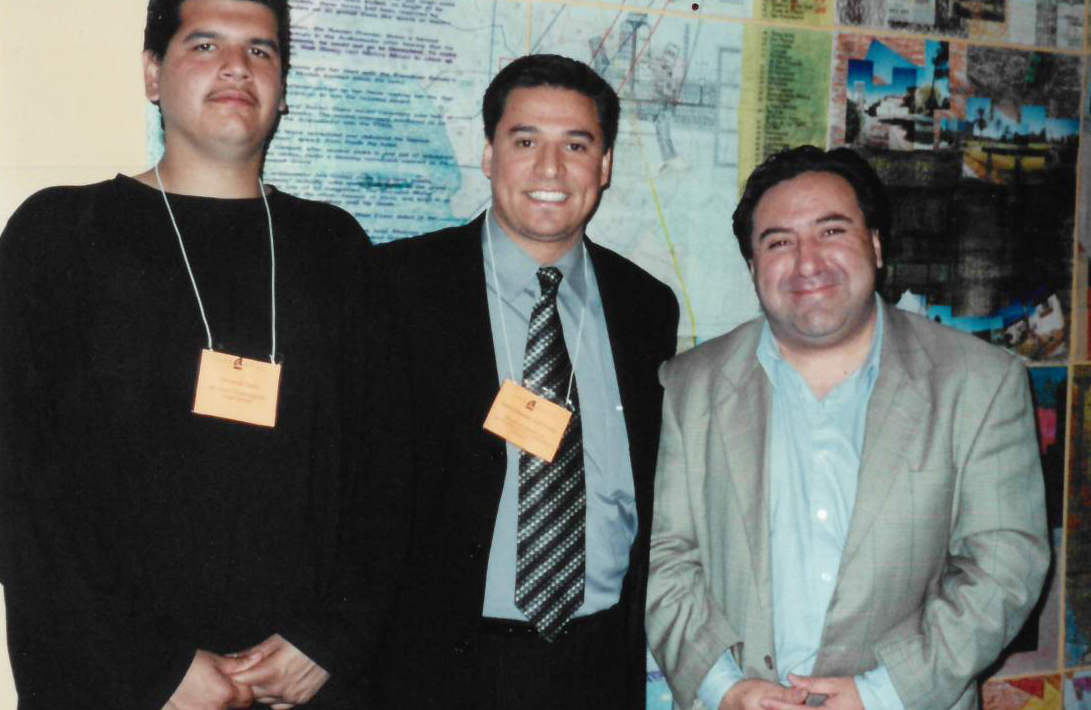 artworx LA student, LA City Councilman Jose Huizar, and Ulises Diaz.