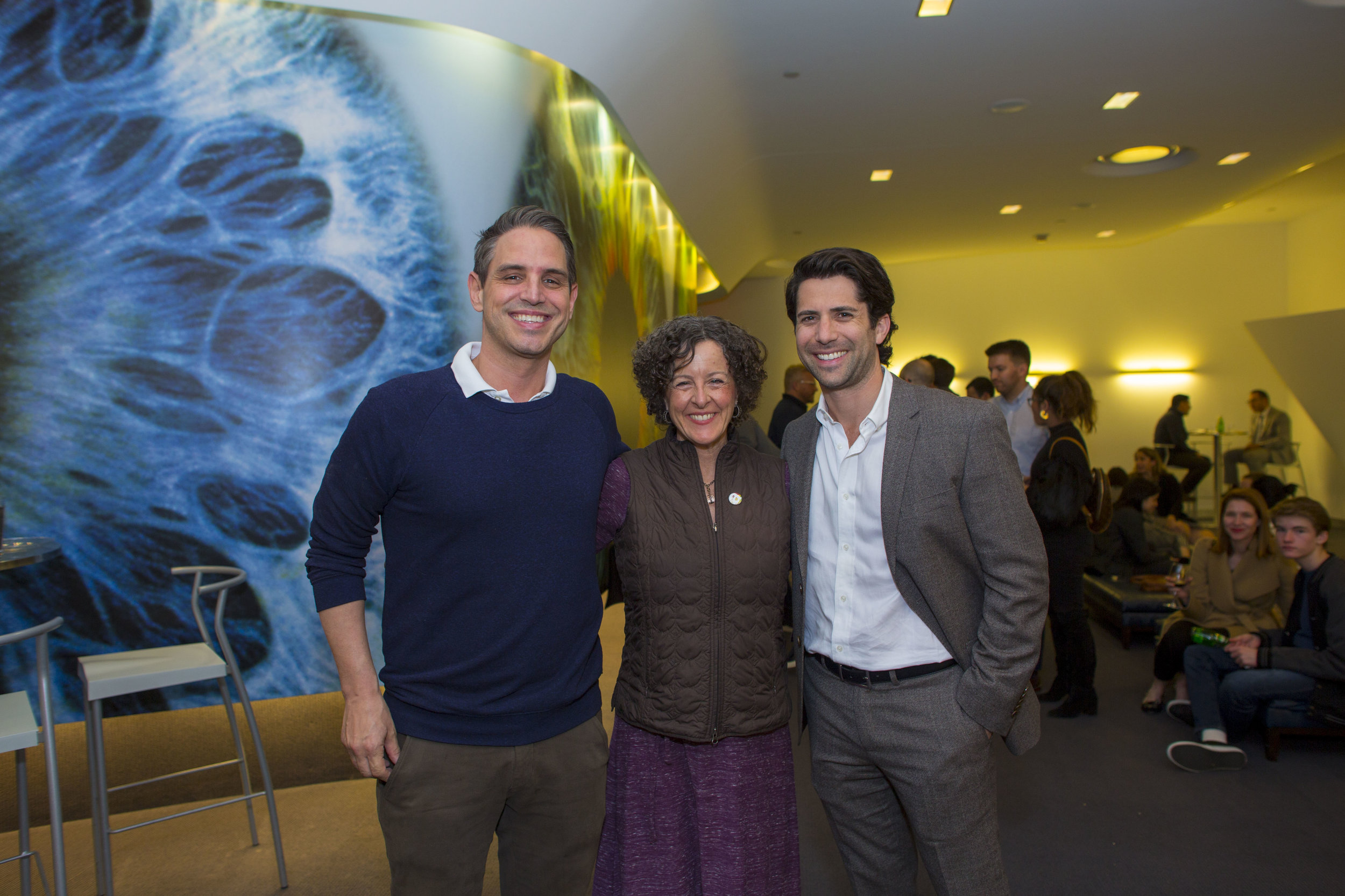 (from left)  Film Director   Greg Berlanti,  artworx LA Executive Director Cynthia Campoy Brophy, and WME Talent Agent Jordan Cerf.