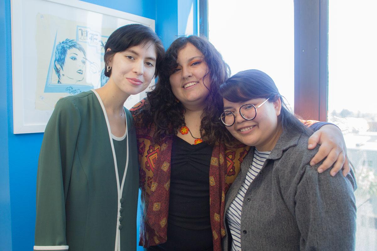 (from left)   Tania Ordoñez, Estefanía Gallo-Gonzalez,and Carolyn Archaga.