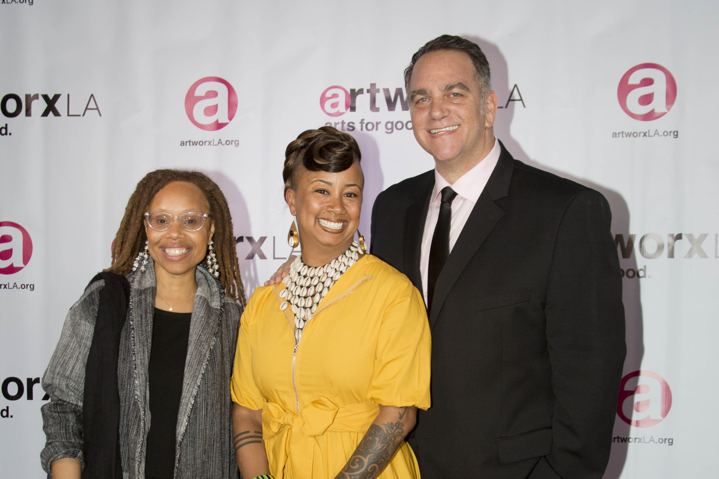From left:  Kristin Sakoda, Executive Director of the Los Angeles County Arts Commission, Shelby Williams-Gonzalez,  artworx LA Executive Director, and Michael Sugar, Founder and CEO of Sugar23.