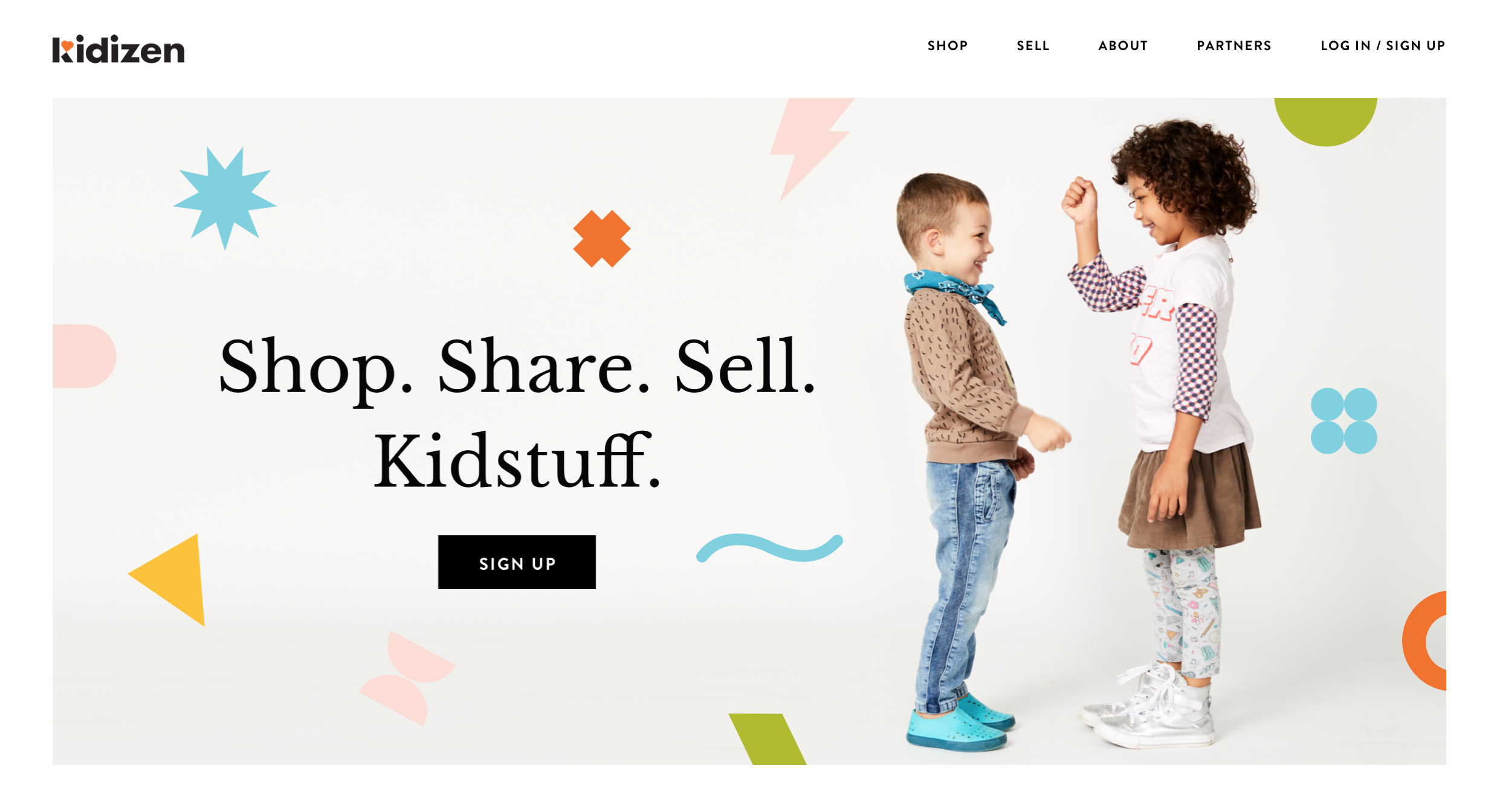 Kidizen Brand Home Page with Kids Photography by Watt Second Studios