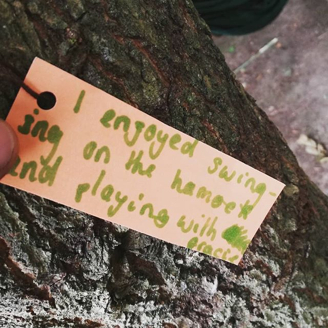 We asked the children to write what they'd enjoyed and hang their thought on a tree after our holiday club this week. Here's some of the lovely results!  #forestschools #forestschool #outdoorchildren #learning #woodland #forest #reflection #feedback #summer #summerclub #holidayclub #naturetherapy #natureconnection #wildchildren #freerangekids #naturalplay #naturalchildhood #rootedforestschool