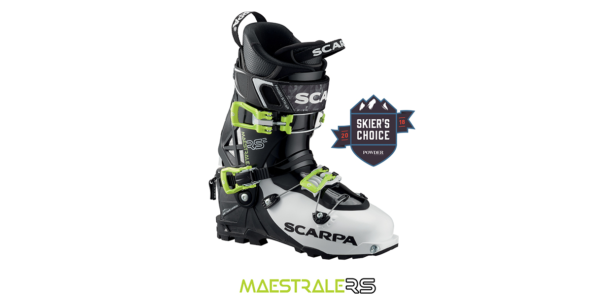 """""""Pound for pound, the retooled Scarpa Maestrale RS is the best new backcountry boot for 2018. """" See Powder's full review."""