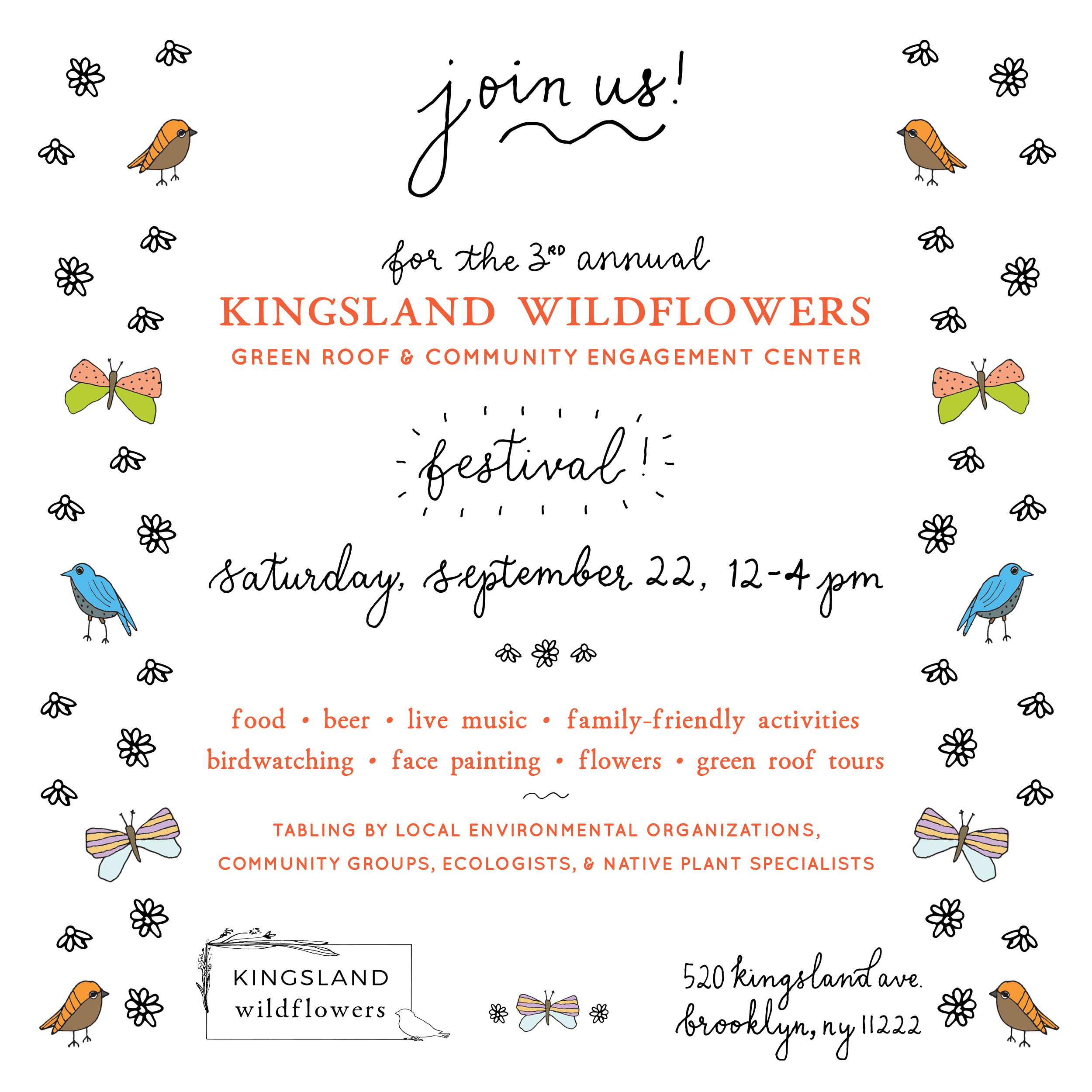 KINGSLAND WILDFLOWERSFESTIVAL - Saturday, September 22, 201812 - 4pmMusic & Special Performances, including a bird dance by our very own Autumn KiotiDoors open @LastFrontierNYC, now home to NOoSPHEREArts' new office. Come by for a studio visit and try out our famous in-door swing!