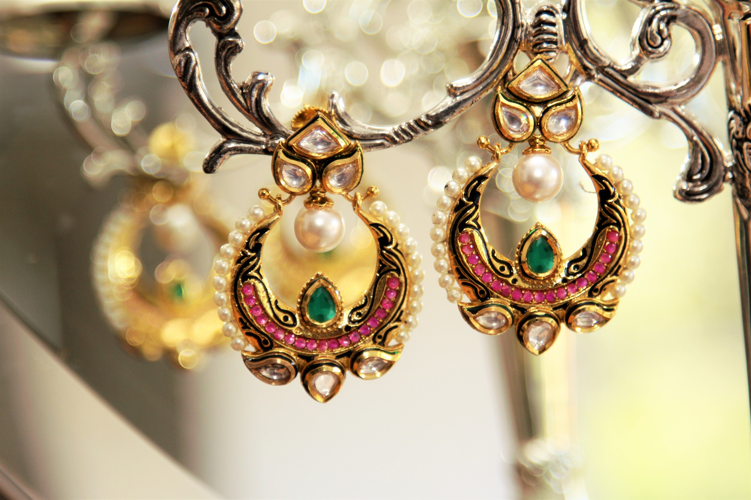 Pink, Green, Polki and Pearls - 'Dream' Statement Earrings