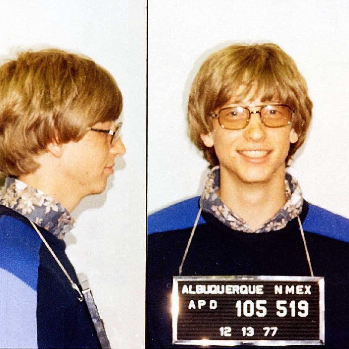 "William Henry Gates III, aka ""Bill Gates"", 1977    Bill Gates mugshot  was taken due to an arrest in Albuquerque in 1977 for driving without a license and running a stop sign. A year later, Gates moved his startup company Microsoft to Seattle and he famously received 3 speeding tickets in his Porsche 911 driving to Washington state. The arrest didn't hold Gates back – Forbes estimates he's  worth $96 billion ."