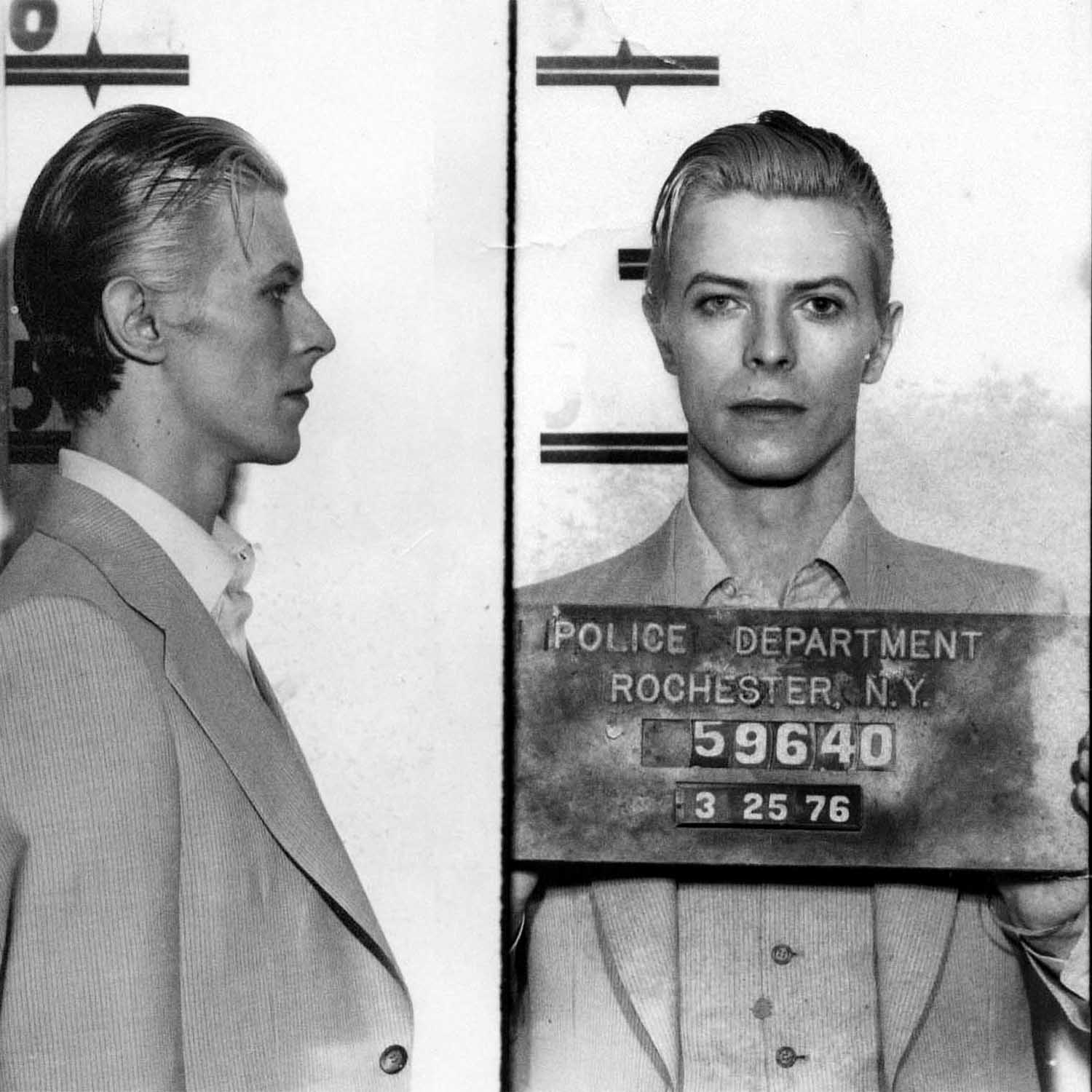 David Bowie, 1976   The English Rockstar David Bowie   (born David Robert Jones) was  arrested for marijuana possession  in Rochester, New York in May 1976 after a performance at the Community War Memorial. Both Bowie and Iggy Pop were arrested when police found 6 ounces of marijuana in their hotel rooms. Pop and Bowie spent one night in jail and were then released on bail. Charges were dismissed when a grand jury declined to indict them.