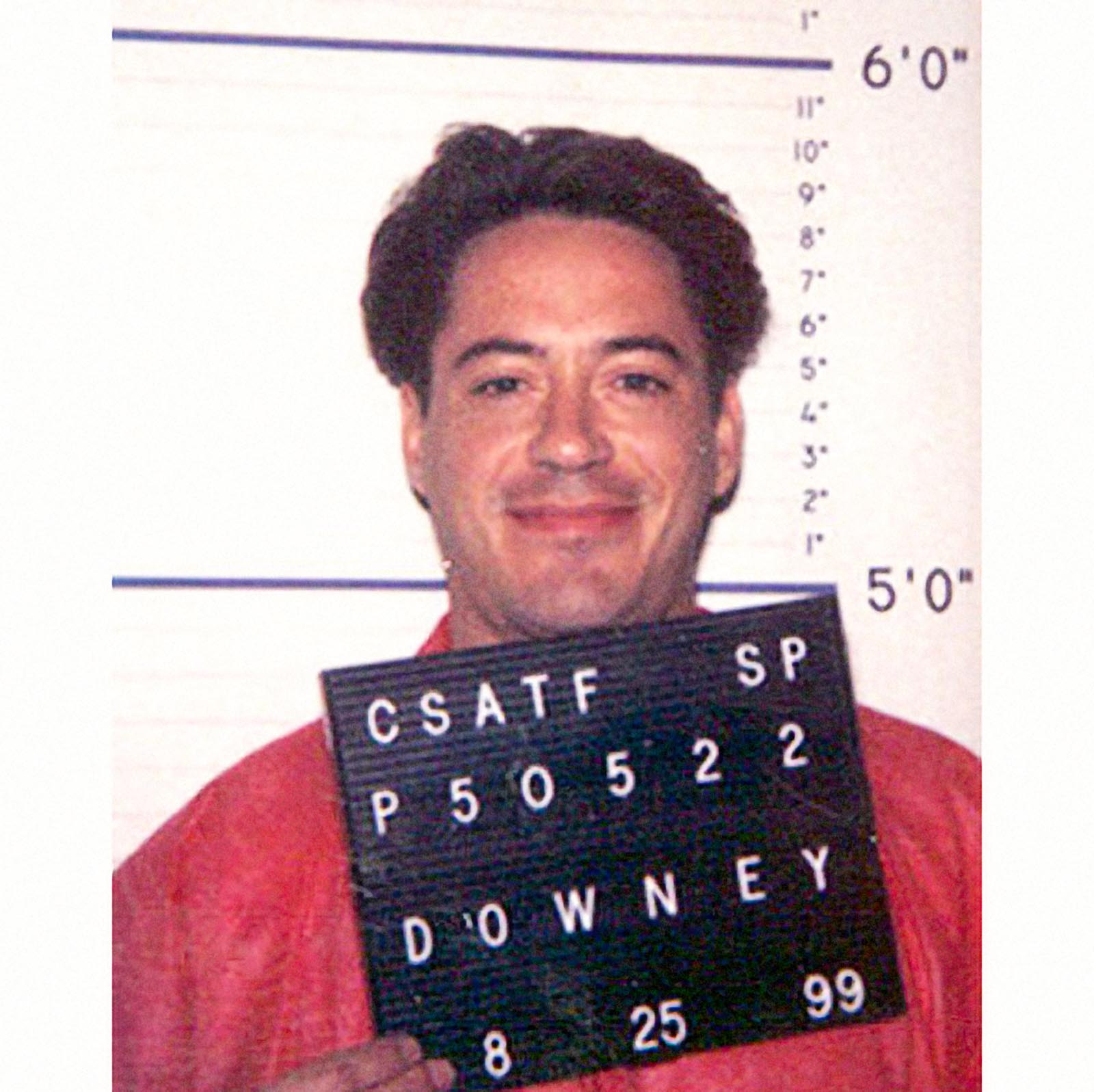 Robert Downey Jr, 1999    Robert Downey Jr  was arrested in 1999 after missing required drug tests while on probation for 1996 charges of possession of heroin, cocaine and a .357 magnum handgun.