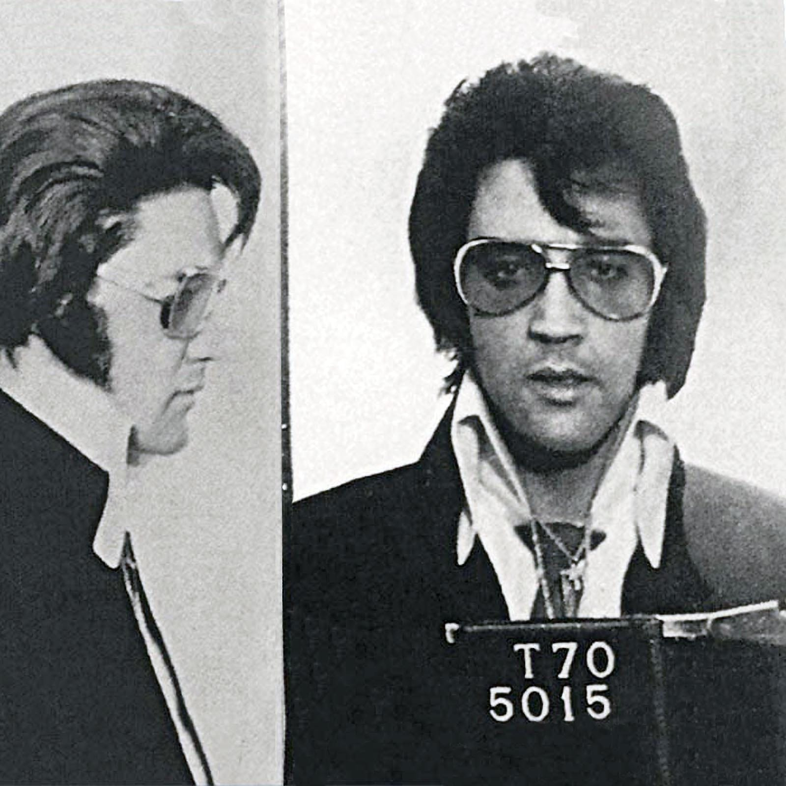Elvis Presley, 1970   This famous  mugshot is believed  to not actually be a real mugshot. Rather it was taken November 17, 1970 by the Denver Colorado Police for Elvis's honorary Police badge. Elvis was being honored for donating to the construction of a local gym.