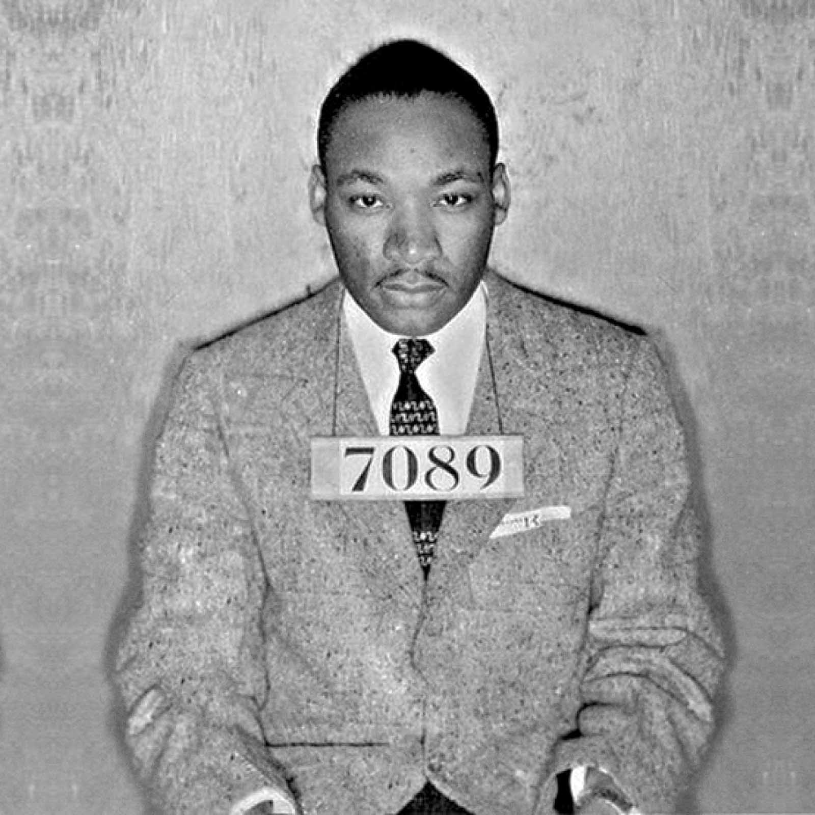Martin Luther King Jr, 1956   Martin Luther King Jr was famously arrested in 1956 in Montgomery, Alabama while participating in the Rosa Parks inspired bus boycotts protesting bus segregation.  King won the Nobel Peace Prize  in 1964 for combatting racial inequality through nonviolent resistance. At age thirty-five, he was the youngest man ever to receive the Nobel prize.