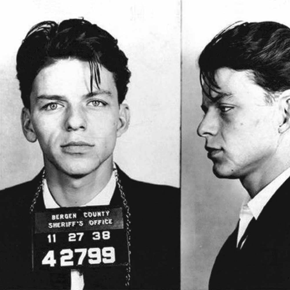 "Frank Sinatra, 1938   Francis Albert Sinatra was arrested in Hoboken, New Jersey in 1938 for seducing a woman. According to  FBI reports , ""under the promise of marriage"" Sinatra ""did then and there have sexual intercourse with the said complainant, who was then and there a single female of good repute."" He was released on $1,500 bail, but arrested one month later for the charge of adultery after it was determined the woman in question was married."