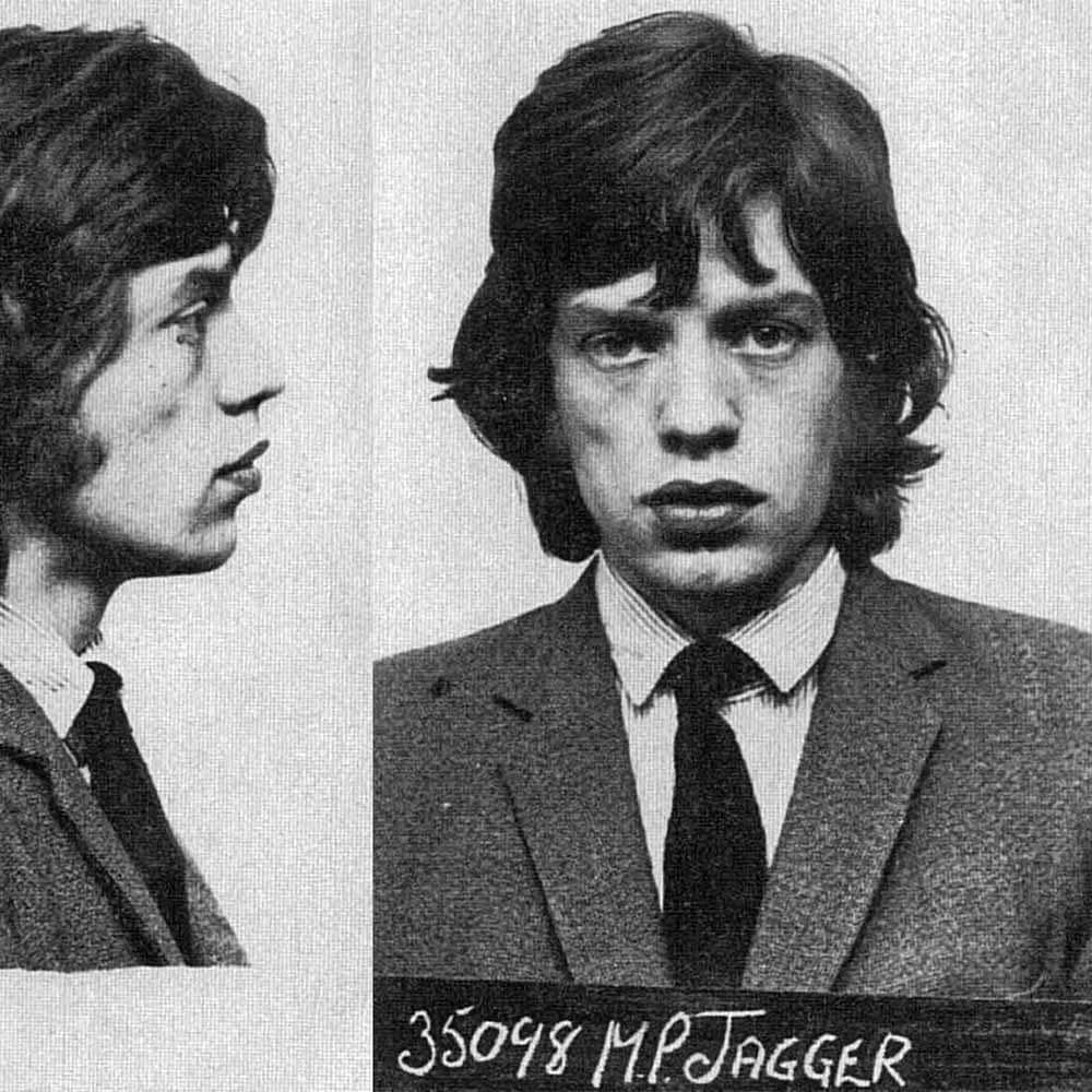 Mick Jagger, 1967    Mick Jagger was arrested  in Sussex England in 1967 for Amphetamine possession. He was with Keith Richards who was allowing guests to smoke cannabis in his home. Both Jagger and Richards were convicted and sentenced to prison. But they appealed the charges which were overturned on appeal.