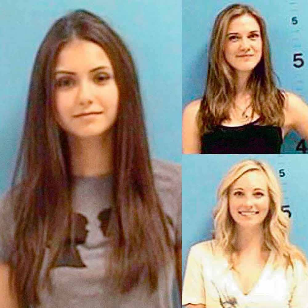 Nina Dobrev and the Vampire Diaries cast, 2009   Nina Dobrev, whose real name is Nikolina Konstantinova Dobreva, and her Vampire Diaries costars Candice Accola, Sara Canning and Kayla Ewell were all arrested in 2009 in Smarr, Georgia for dangling from a bridge and  flashing drivers  on Highway I-72. The entire group was charged with disorderly conduct and ordered to pay a $4,000 fine.
