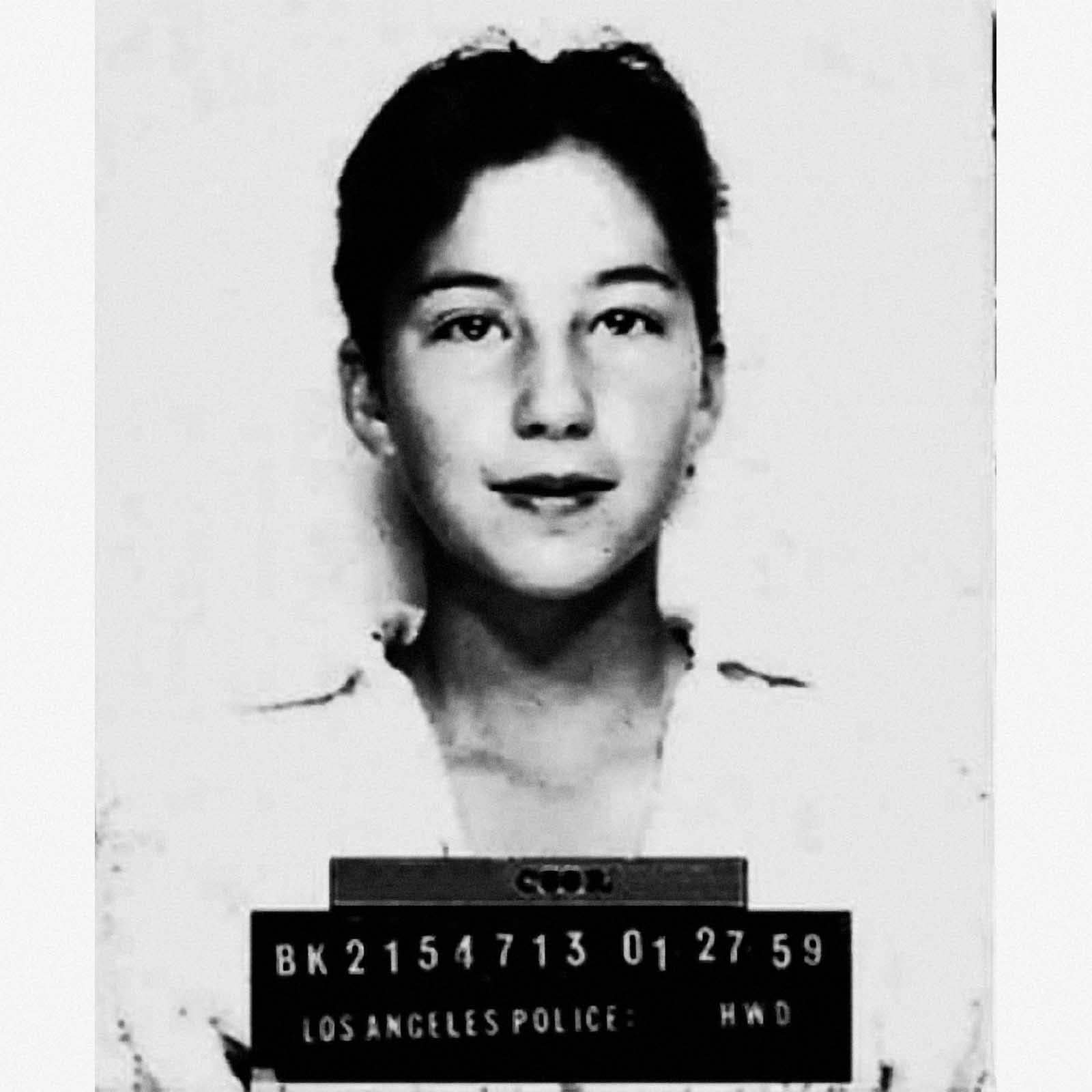 "Cherilyn Sarkisian, aka ""Cher"", 1959   Cher was only 13 years old in this arrest mugshot.  Cher was arrested  in 1959 for ""borrowing"" a friend's car and driving it without a license in Los Angeles in 1959."