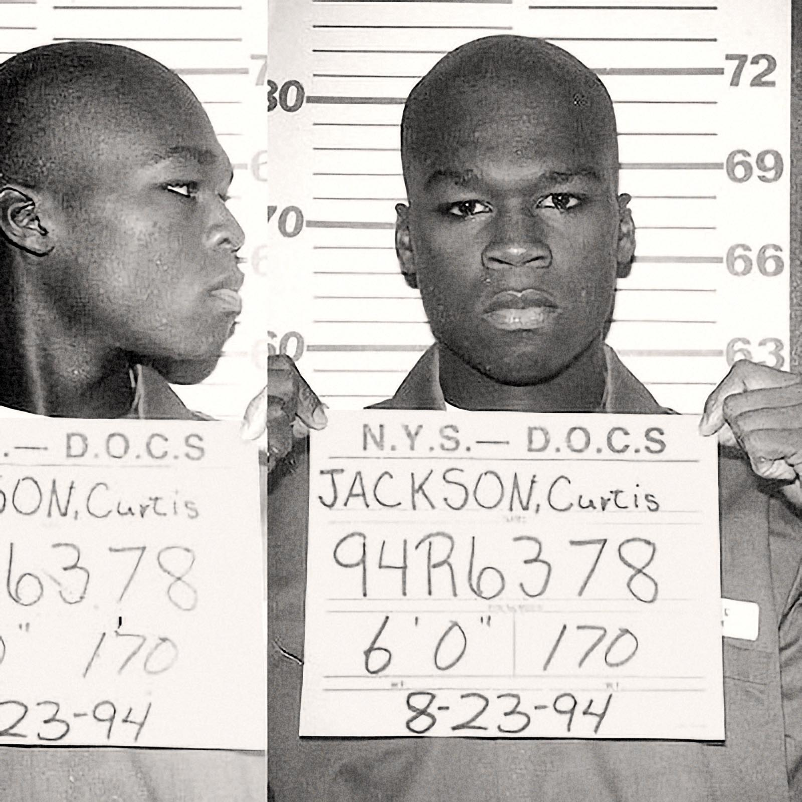 "Curtis Jackson, aka ""50 Cent"", 1994   Rapper 50 Cent was photographed at age 19 while serving time in New York State Department of Correctional Services, in August 1994. Jackson had pleaded  guilty to felony charges  of selling heroin and crack cocaine."
