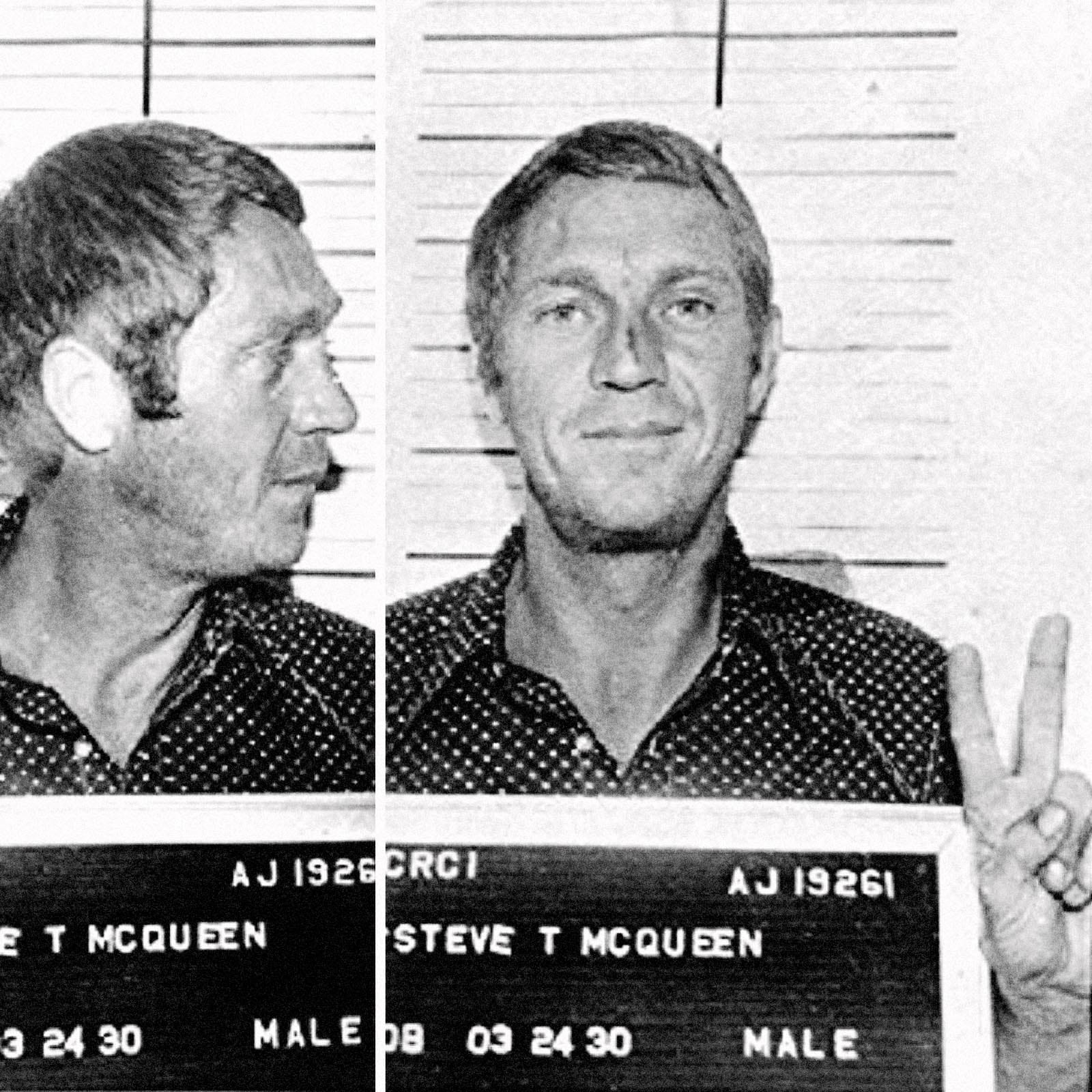 Steve McQueen, 1972   Steve McQueen was arrested in Anchorage, Alaska in 1972 for  driving under the influence . After posting bail and leaving town, McQueen was later convicted in absentia for reckless driving.